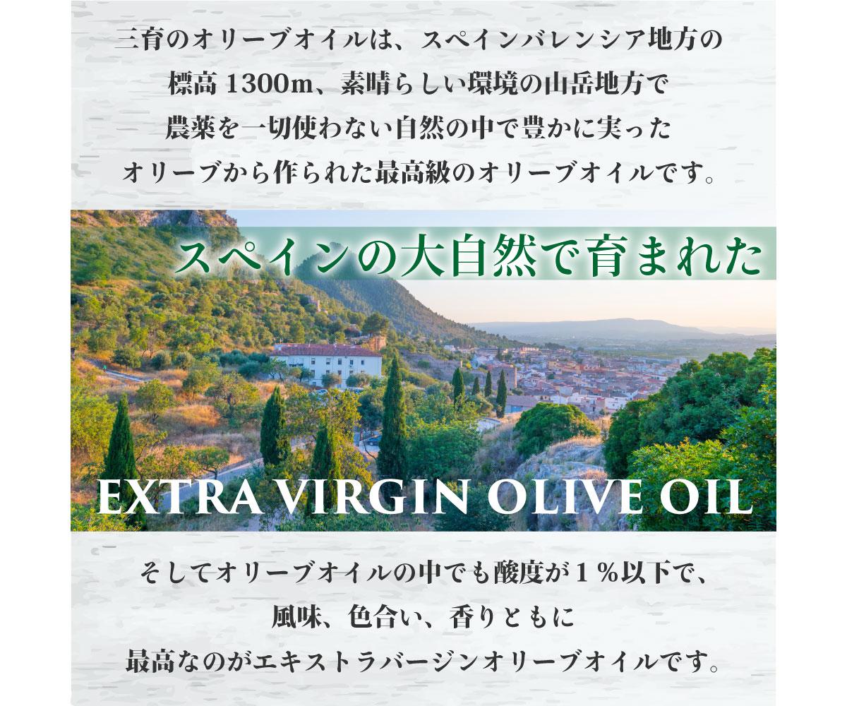 三育のオリーブオイルは、スペインバレンシア地方の標高1300m、素晴らしい環境の山岳地方で農薬を一切使わない自然の中で豊かに実ったオリーブから作られた最高級のオリーブオイルです。スペインの大自然で育まれたEXTRA VIRGIN OLIVE OIL。そしてオリーブオイルの中でも酸度が1%以下で、風味、色合い、香りともに最高なのがエキストラバージンオリーブオイルです。